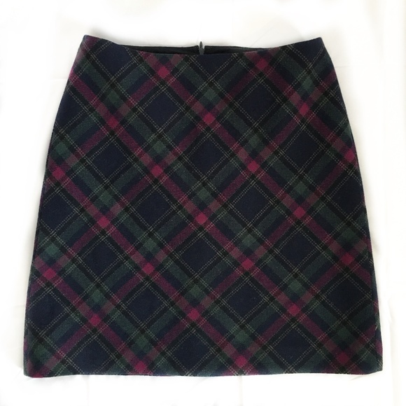 Talbots Dresses & Skirts - Talbots Wool Blue and Magenta Tartan Skirt Size 6